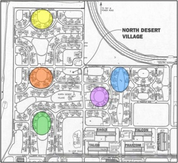 North Desert Village map highlighting treatment and control areas