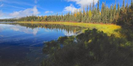 Wide angle view of a lake