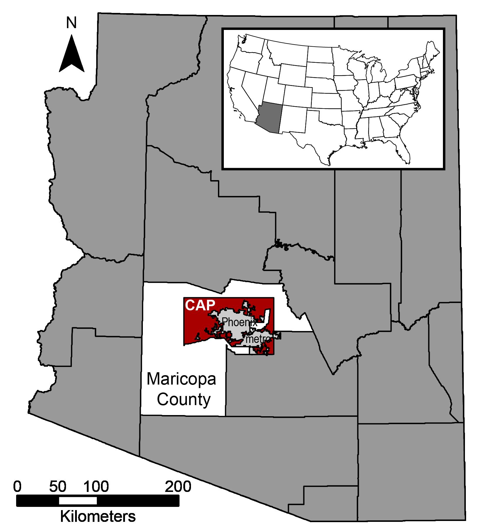 CAP area Arizona map