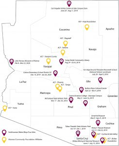 Water/Ways Arizona Exhibition Host Sites Map