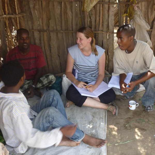 Former post-doctoral research fellow Dr. Jenny Hodbod conducting research in Ethiopia