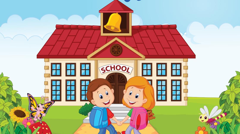 Rendering of two children approaching school