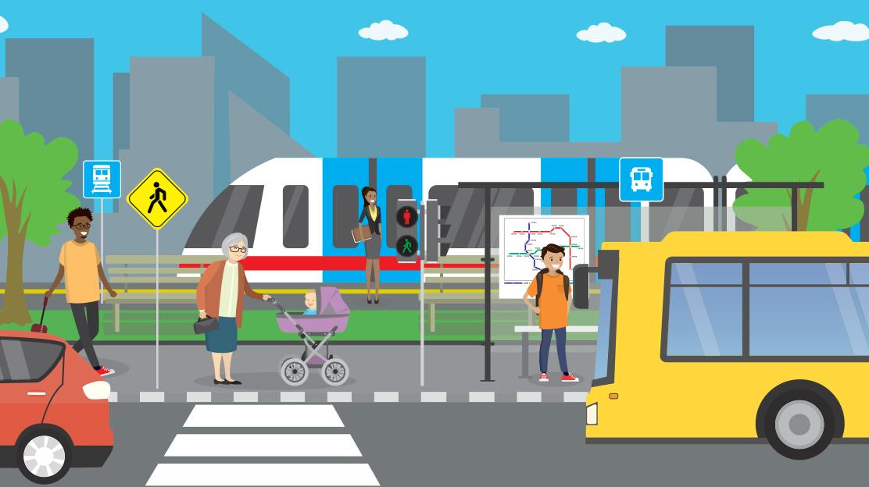 Rendering of city street public transportation