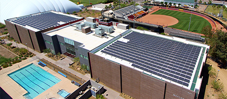 Solar panels on roof of ASU Athletic center Commitment
